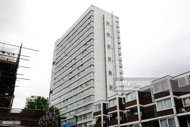 External cladding is seen on the side of Braithwaite House residential block in Islington in north London on June 24 2017 Some 27 highrise buildings...