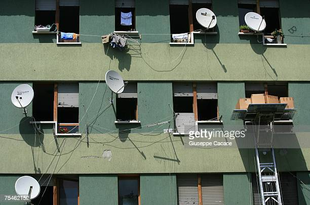 A external view of one of the six Via Anelli apartment blocks on July 17 2007 in Padua northern Italy The rundown Via Anelli estate is ringed with a...
