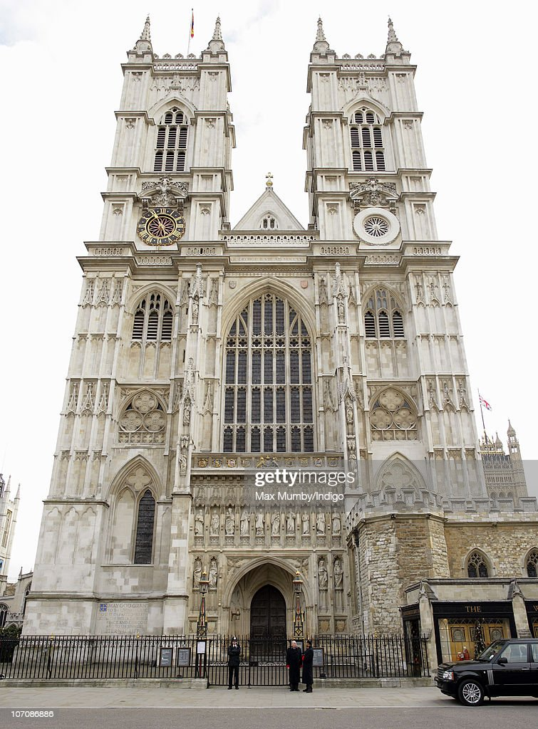 External view of the Great West Door of Westminster Abbey the venue for Prince William and