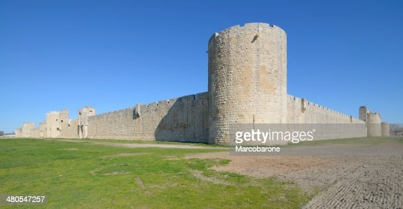 external walls, Aigues Mortes, southern France. : Stock Photo