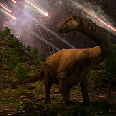 An apatosaurus looks upon meteors raining down that  preceded the larger asteroid strike that would lead to the extinction of the dinosaurs 65 million years ago.