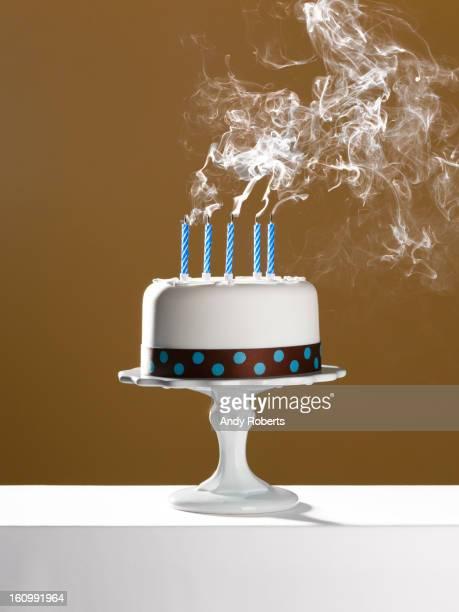 Extinguished birthday candles on birthday cake