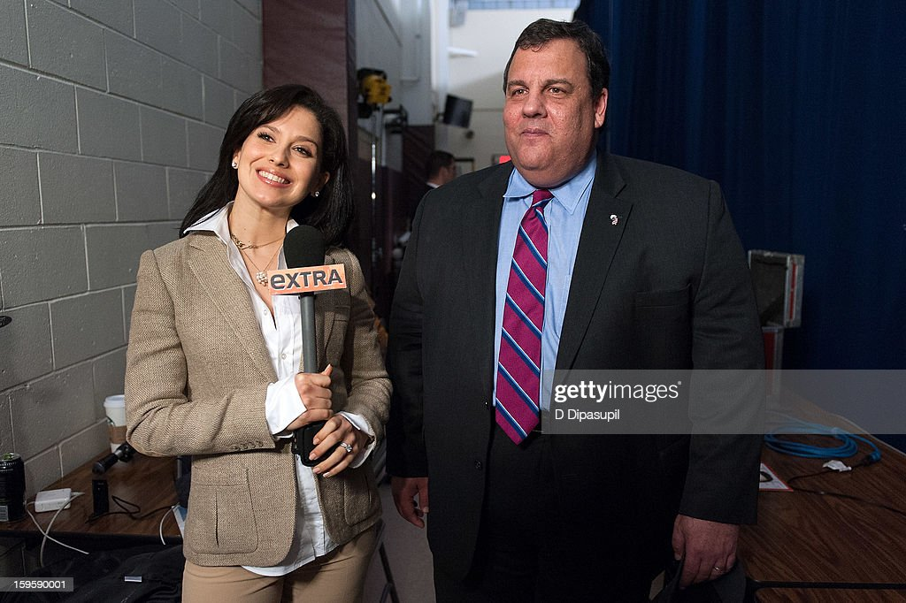 'Extra' Lifestyle Correspondent Hilaria Baldwin (L) interviews New Jersey Governor <a gi-track='captionPersonalityLinkClicked' href=/galleries/search?phrase=Chris+Christie&family=editorial&specificpeople=6480114 ng-click='$event.stopPropagation()'>Chris Christie</a> after his 100th Town Hall Meeting at St. Mary's Parish Center on January 16, 2013 in Manahawkin, New Jersey.
