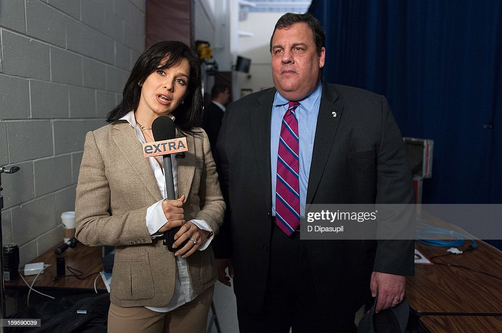 'Extra' Lifestyle Correspondent Hilaria Baldwin (L) interviews New Jersey Governor Chris Christie after his 100th Town Hall Meeting at St. Mary's Parish Center on January 16, 2013 in Manahawkin, New Jersey.