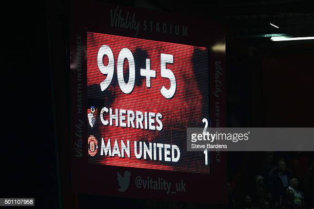 Extra time is displayed on the screen during the Barclays Premier League match between AFC Bournemouth and Manchester United at Vitality Stadium on...