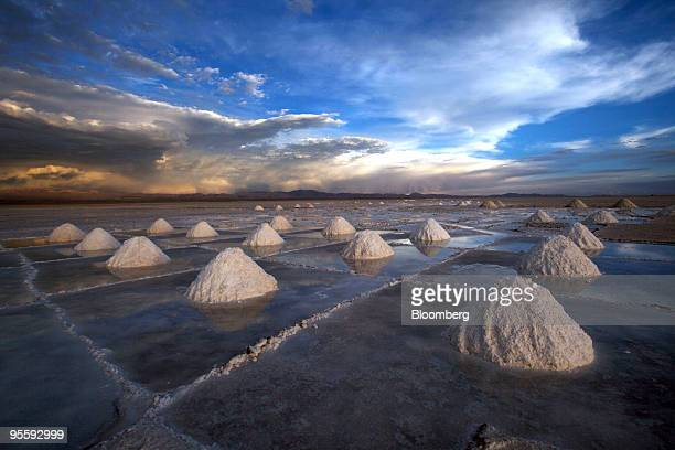 Extracted salt sits in piles at the Uyuni Salt Flat in Uyuni Bolivia on Nov 18 2009 The salt flat is also the world's largest untapped lithium...