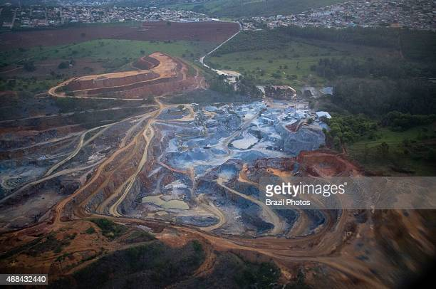 Extraction of granite and limestone in quarry mining area in the outskirts of Belo Horizonte city capital of Minas Gerais State Brazil