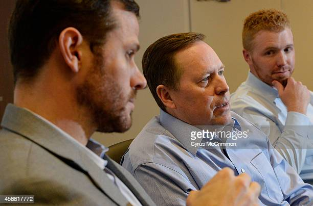 Extraction Oil Gas executives left to right Rusty Kelley CFO Mark Erickson chairman and CEO and Matt Owens president talk about their work at their...