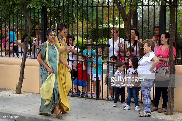 Extras are seen during filming for Game of Thrones near the bullring on October 24 2014 in Osuna Spain Film crew have begun shooting part of the...
