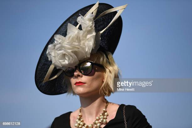 Extravagant hats are the order of the day in the Royal Enclosure on the opening day of Royal Ascot at Ascot Racecourse on June 20 2017 in Ascot...