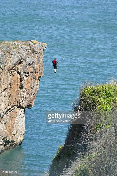 Extreme cliff jumping in Ireland