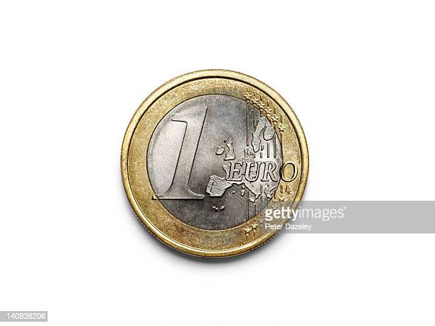 Extreme close up of a one Euro coin