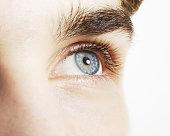 Extreme close up of blue eye