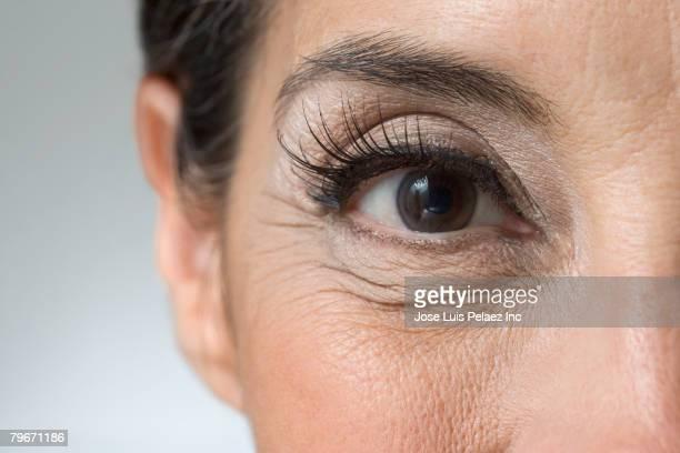 Extreme close up of Hispanic woman's eye