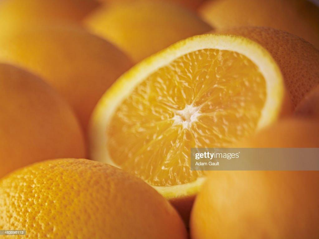 Extreme close up of sliced Salustiana orange
