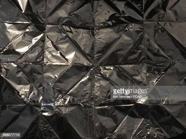Extreme close-up of aluminium foil
