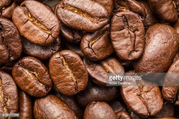 Extreme close-up of coffee beans