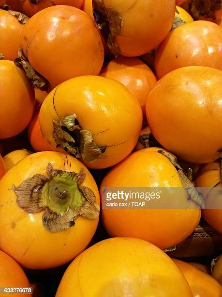 Extreme close-up of fresh persimmon