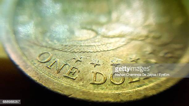 Extreme Close-Up Of One Us Dollar Coin