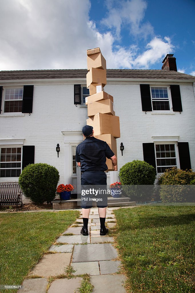 Extreme delivery man : Stock Photo