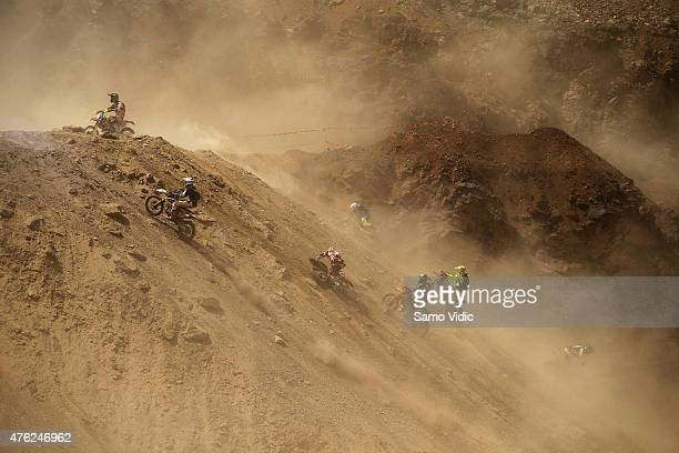 Extreme enduro riders compete during the Red Bull Hare Scramble on June 7 2015 in Eisenerz Austria