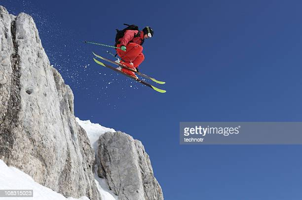 Extreme free ride skier in the action