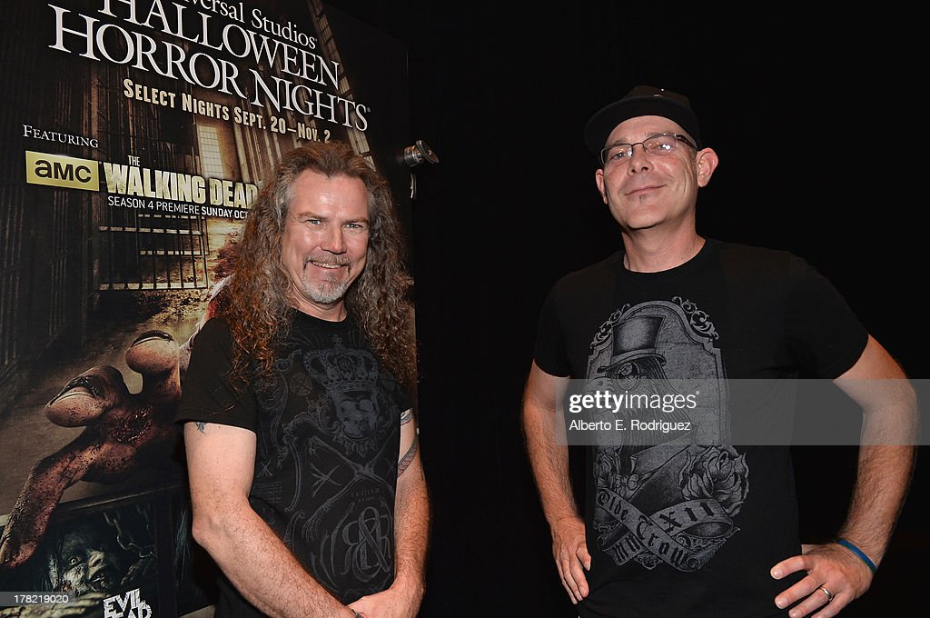 Extreme horror make-up artist Larry Bones and 'Halloween Horror Nights' creative director John Murdy attend Universal Studios' 'Halloween Horror Nights' media make-up kick-off at The Globe Theatre on August 27, 2013 in Universal City, California.