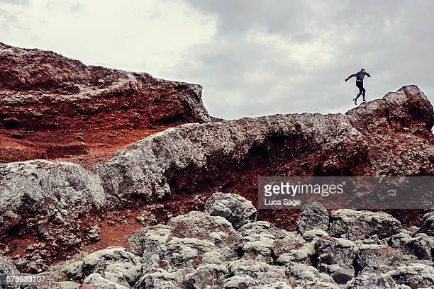 Extreme Icelandic running along rocky ridg terrain