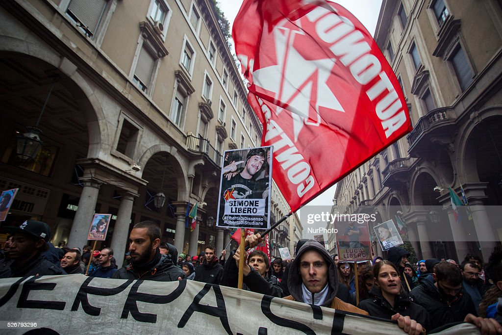A extreme left protesters during the demonstration on Labour day in Turin, Italy, on May 1, 2016
