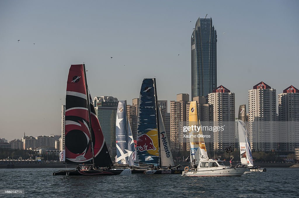 Extreme Sailing Series fleet in action during day three of the Extreme Sailing Series on May 4, 2013 in Qingdao, China.