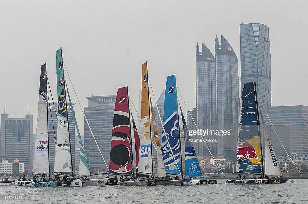 Extreme Sailing Series fleet in action during day two of the Extreme Sailing Series on May 3, 2013 in Qingdao, China.