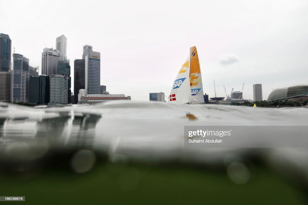 Extreme Sailing Team in action during day one of the Extreme Sailing Series at Marina Bay Reservoir on April 11, 2013 in Singapore.