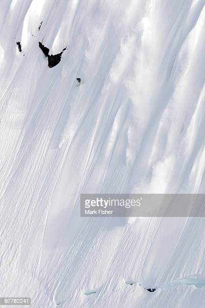 Extreme Skiing down a steep, fluted face in Haines, Alaska.