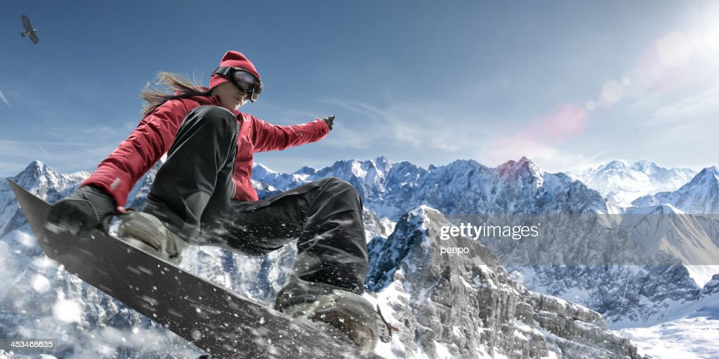 Extreme Snowboarding Girl : Stock Photo
