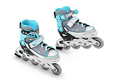 Extreme sport roller skates isolated on white background. 3d illustration.