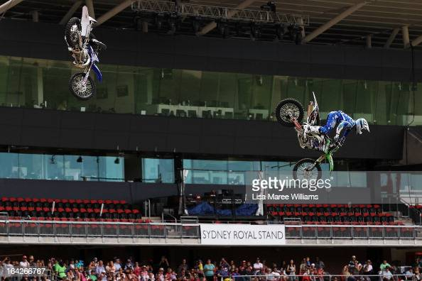 Extreme Trick Riding Stunt Team perfom at the Commonwealth Bank Arena during the Sydney Royal Easter Show on March 22 2013 in Sydney Australia...