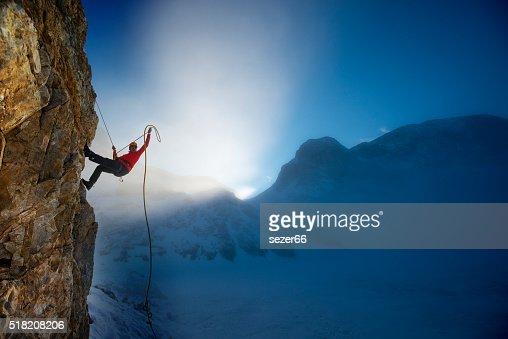 Invernali estreme di arrampicata : Foto stock