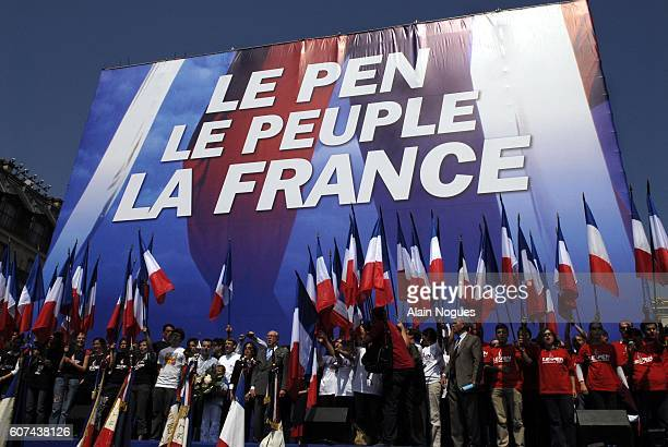 Extremist rightwing leader JeanMarie Le Pen delivers his traditional May Day speech at the Place de l'Opera in Paris