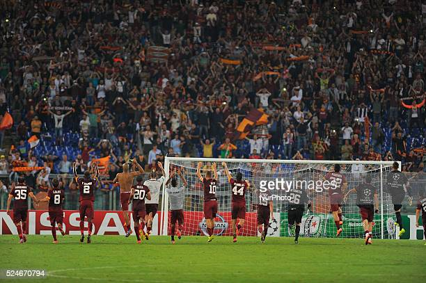Exult Roma players during the UEFA Champions League group E football match AS Roma vs CSKA Moskova at Rome's Olympic Stadium on September 17 2014
