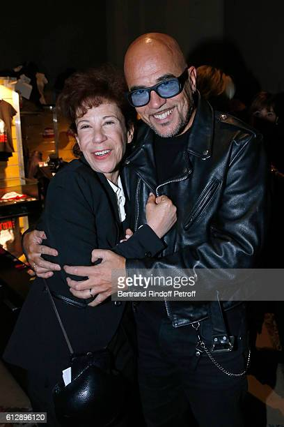 ExWife of Coluche Veronique Colucci and singer Pascal Obispo attend the Coluche Exhibition Opening This exhibition is organized for the 30 years of...