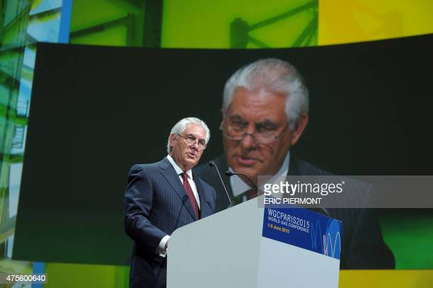 Exxon Mobil Chairman and CEO Rex Tillerson addresses a keynote speech during the World Gas Conference in Paris on June 2 2015 AFP PHOTO / ERIC...