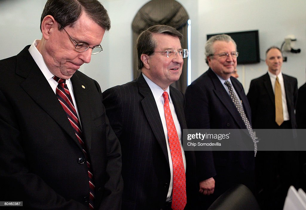 Exxon Mobil Corporation Senior Vice President Stephen Simon, Cheveron Vice Chairman Peter Robertson, Shell Oil Company President John Hofmeister and ConocoPhillips Executive Vice President John Lowe prepare to testify before the House Select Energy Independence and Global Warming Committee on Capitol Hill April 1, 2008 in Washington, DC. In the face of record gasoline and oil prices, the committee called into question the record profits posted by the five largest American oil companies and their commitment to developing clean and renewable fuels.
