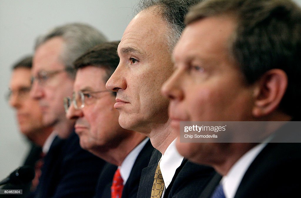 Exxon Mobil Corporation Senior Vice President Stephen Simon, Shell Oil Company President John Hofmeister, Cheveron Vice Chairman Peter Robertson, ConocoPhillips Executive Vice President John Lowe and BP America Chairman and President Robert Malone respond to questions while testifying before the House Select Energy Independence and Global Warming Committee on Capitol Hill April 1, 2008 in Washington, DC. In the face of record gasoline and oil prices, the committee called into question the record profits posted by the five largest American oil companies and their commitment to developing clean and renewable fuels.