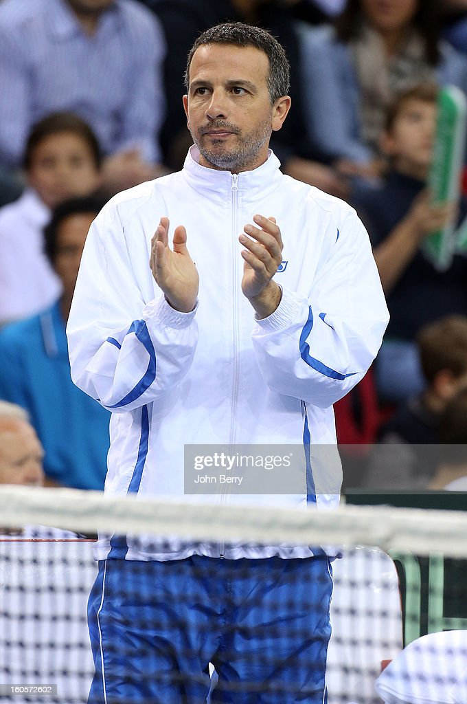 Eyal Ran, coach of Israel cheers for his players during the doubles match on day two of the Davis Cup first round match between France and Israel at the Kindarena stadium on February 2, 2013 in Rouen, France.