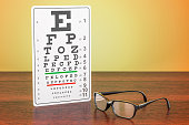 Eye Chart and Glasses on the wooden table. 3D rendering