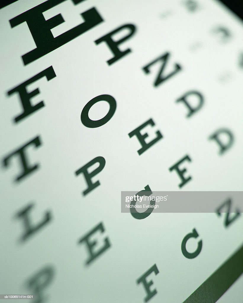 Eye chart, close-up (differential focus) : Stock Photo