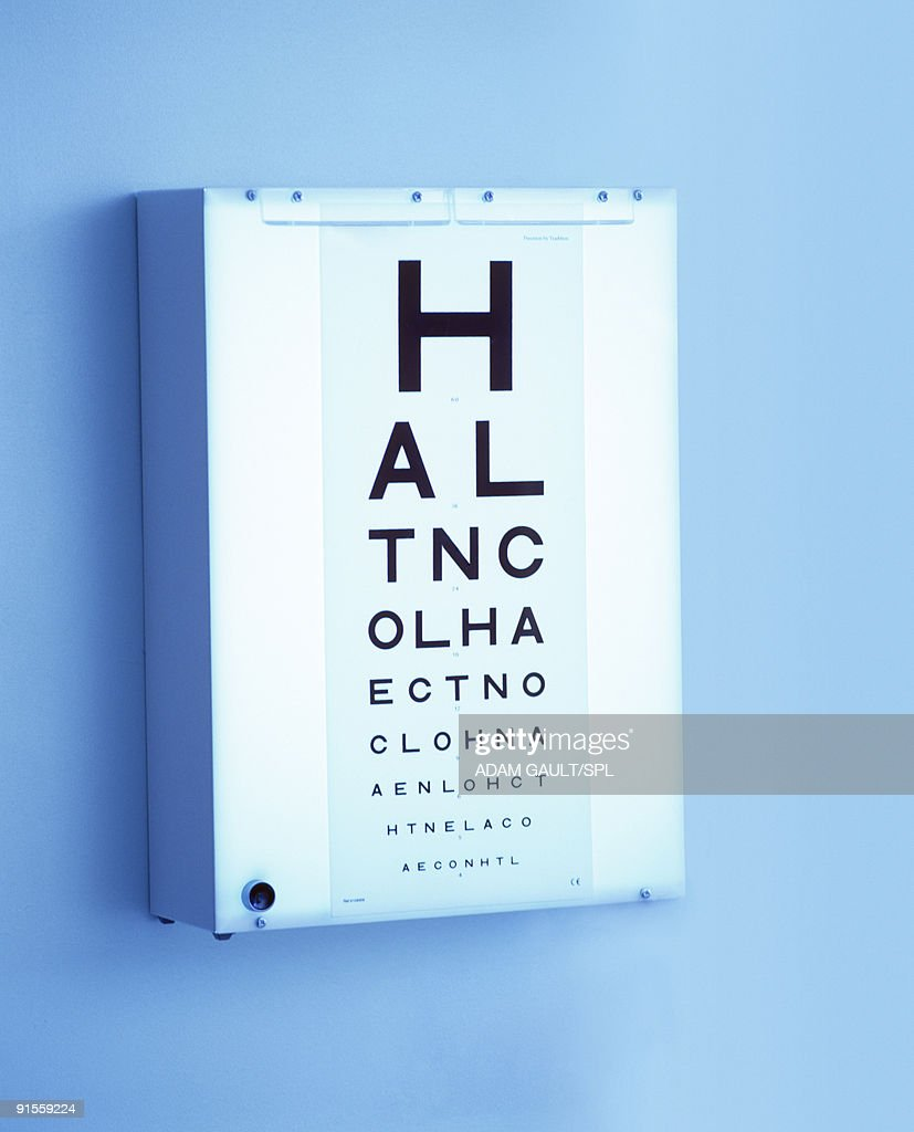 Eye chart mounted on lightbox