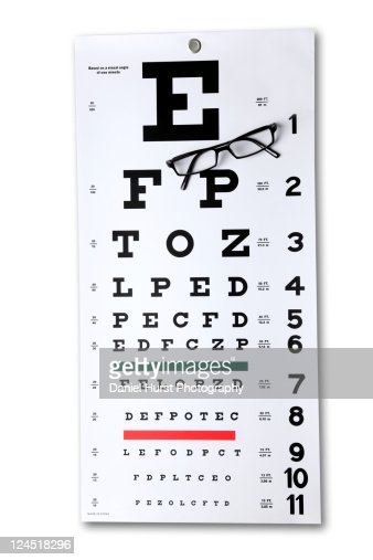 Eye Chart with glasses : Stock Photo