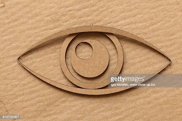 Eye cut out of cardboard
