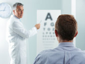 Optometrist and patient, doctor pointing at eye chart